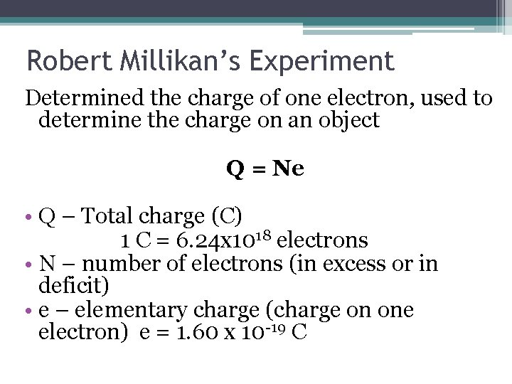 Robert Millikan's Experiment Determined the charge of one electron, used to determine the charge