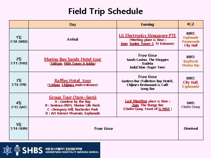 Field Trip Schedule   1일 7/10 (WED) 2일 7/11 (THU) 3일 7/12 (FRI) Day