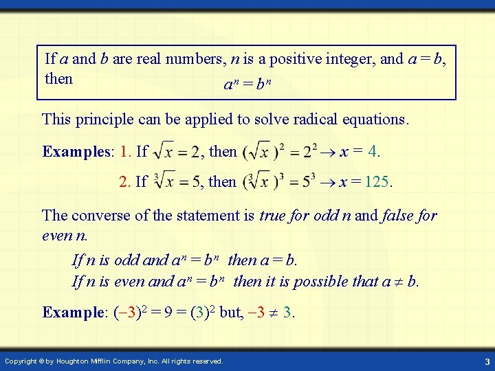 If a and b are real numbers, n is a positive integer, and a