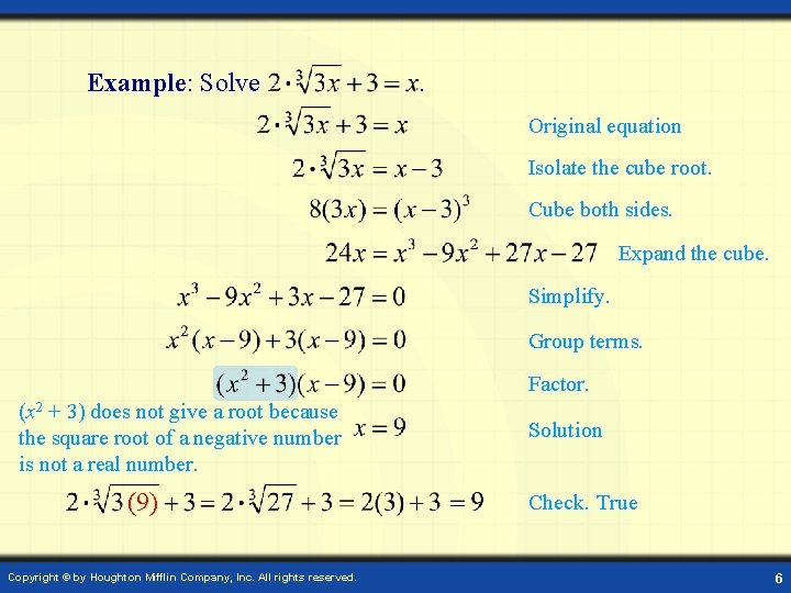 Example: Solve . Original equation Isolate the cube root. Cube both sides. Expand the