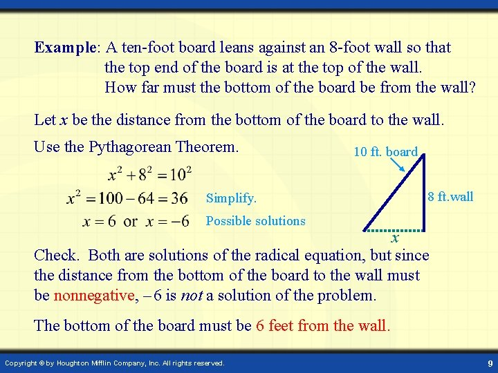 Example: A ten-foot board leans against an 8 -foot wall so that the top