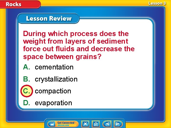During which process does the weight from layers of sediment force out fluids and