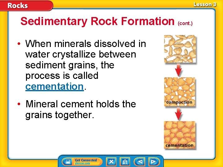 Sedimentary Rock Formation (cont. ) • When minerals dissolved in water crystallize between sediment