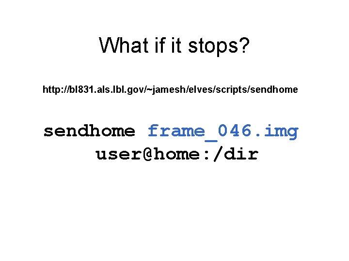 What if it stops? http: //bl 831. als. lbl. gov/~jamesh/elves/scripts/sendhome frame_046. img user@home: /dir