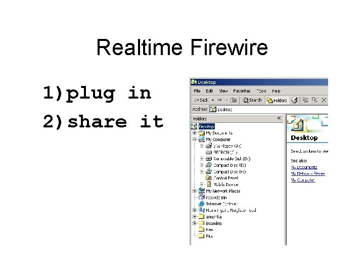 Realtime Firewire 1)plug in 2)share it