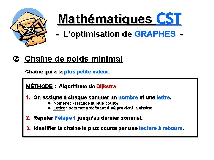 Mathématiques CST - L'optimisation de GRAPHES Chaîne de poids minimal Chaîne qui a la