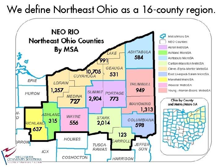 We define Northeast Ohio as a 16 -county region. 584 991 10, 705 531