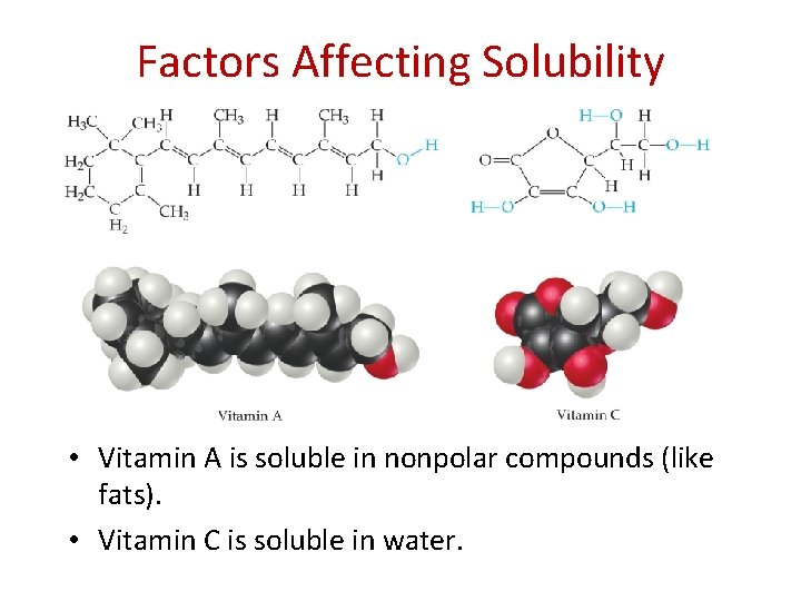 Factors Affecting Solubility • Vitamin A is soluble in nonpolar compounds (like fats). •