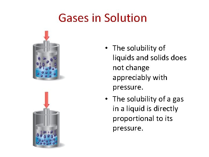 Gases in Solution • The solubility of liquids and solids does not change appreciably