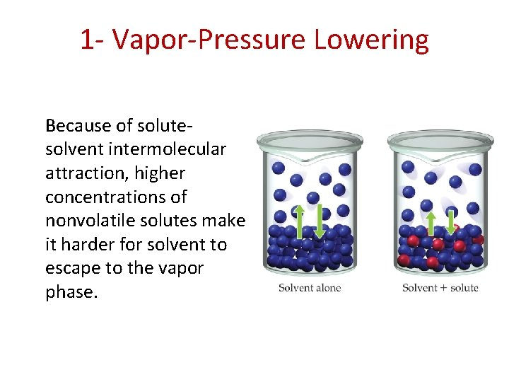 1 - Vapor-Pressure Lowering Because of solutesolvent intermolecular attraction, higher concentrations of nonvolatile solutes