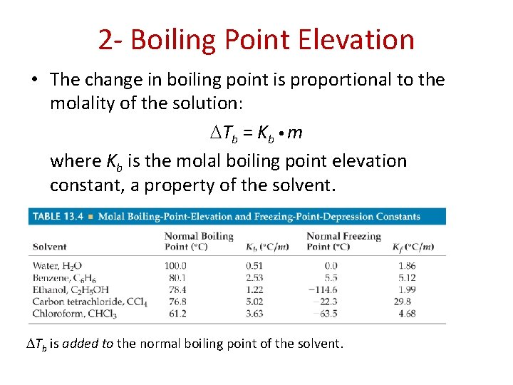 2 - Boiling Point Elevation • The change in boiling point is proportional to