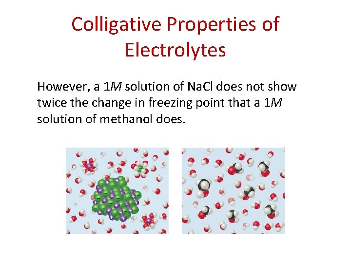 Colligative Properties of Electrolytes However, a 1 M solution of Na. Cl does not