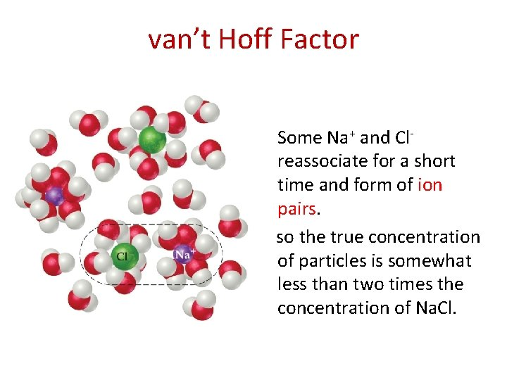 van't Hoff Factor Some Na+ and Clreassociate for a short time and form of
