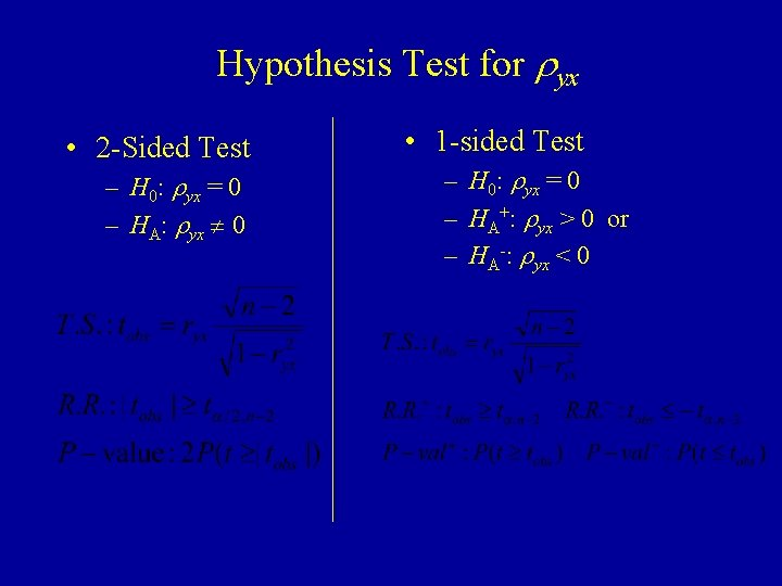 Hypothesis Test for ryx • 2 -Sided Test – H 0: ryx = 0