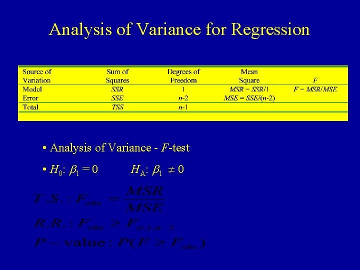Analysis of Variance for Regression • Analysis of Variance - F-test • H 0: