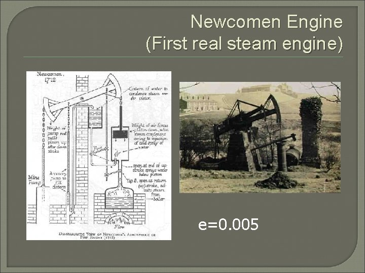 Newcomen Engine (First real steam engine) e=0. 005
