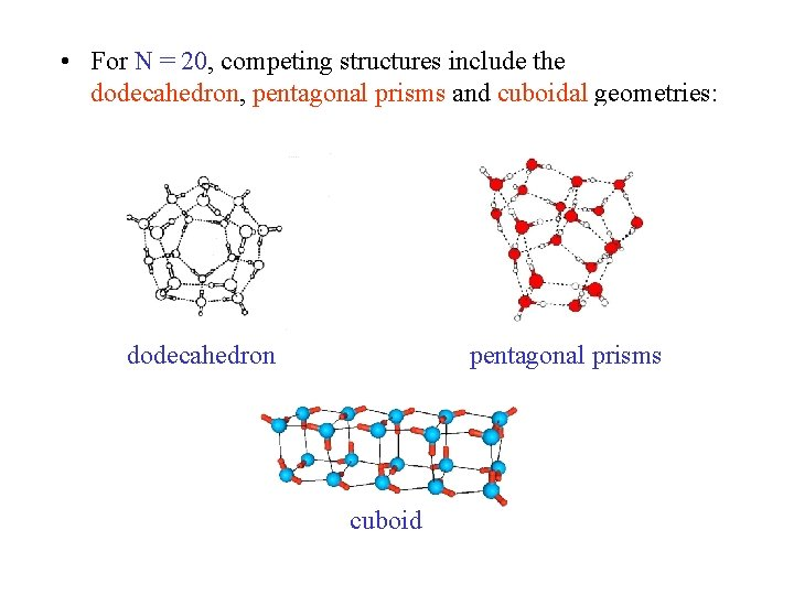 • For N = 20, competing structures include the dodecahedron, pentagonal prisms and
