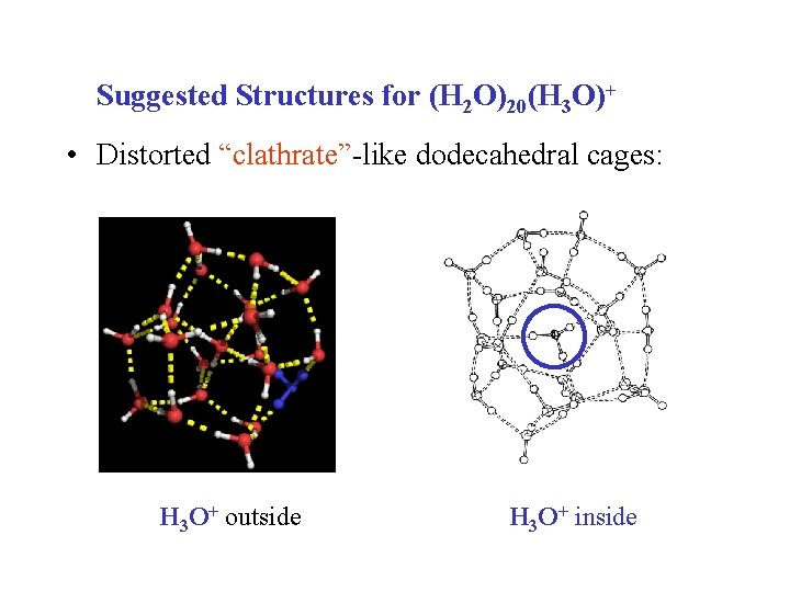 """Suggested Structures for (H 2 O)20(H 3 O)+ • Distorted """"clathrate""""-like dodecahedral cages: H"""