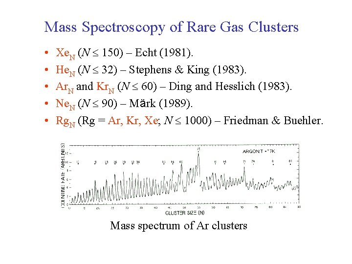 Mass Spectroscopy of Rare Gas Clusters • • • Xe. N (N 150) –