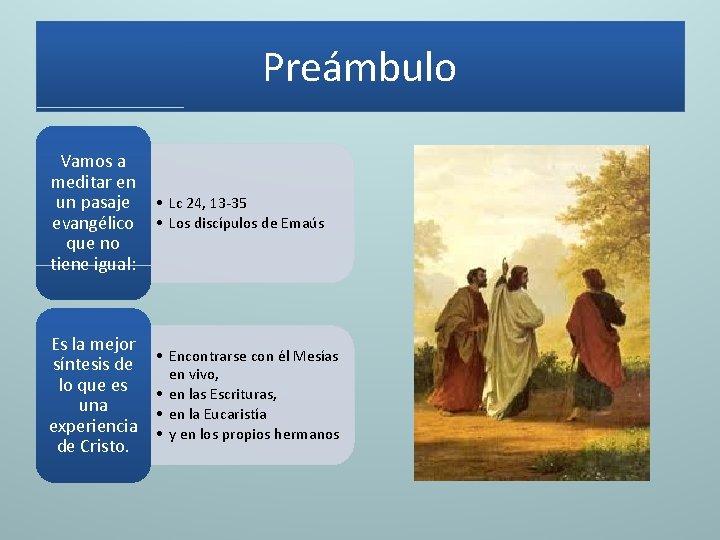 Preámbulo Vamos a meditar en un pasaje • Lc 24, 13 -35 evangélico •