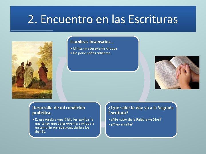 2. Encuentro en las Escrituras Hombres insensatos. . . • Utiliza una terapia de