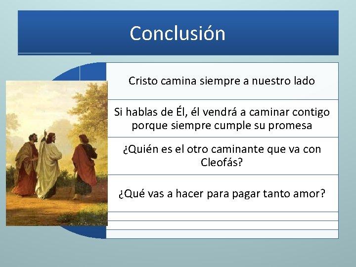 Conclusión Cristo camina siempre a nuestro lado Si hablas de Él, él vendrá a