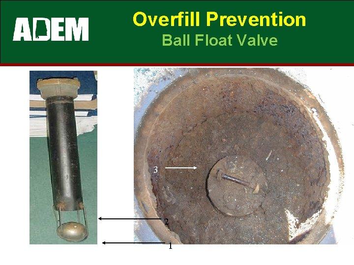 Overfill Prevention Ball Float Valve 3 2 1