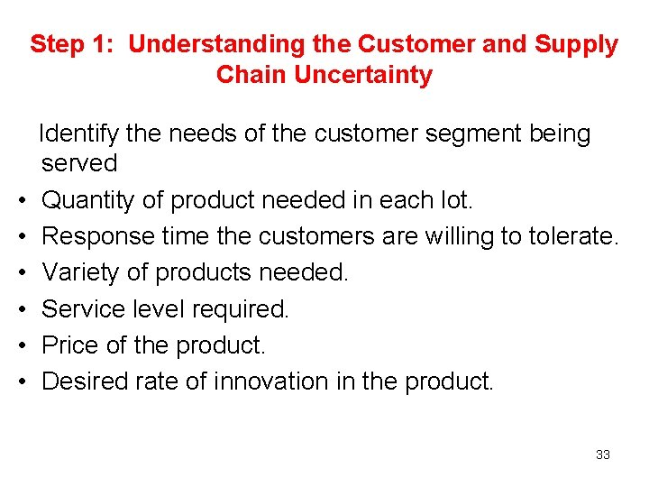 Step 1: Understanding the Customer and Supply Chain Uncertainty Identify the needs of the