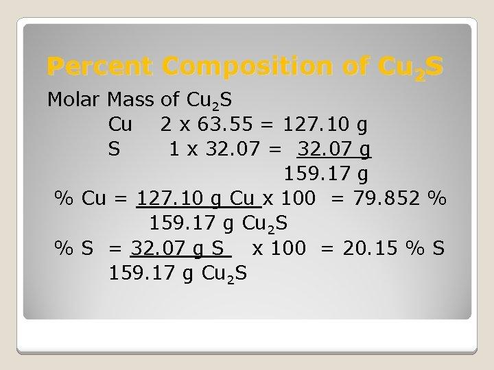Percent Composition of Cu 2 S Molar Mass of Cu 2 S Cu 2