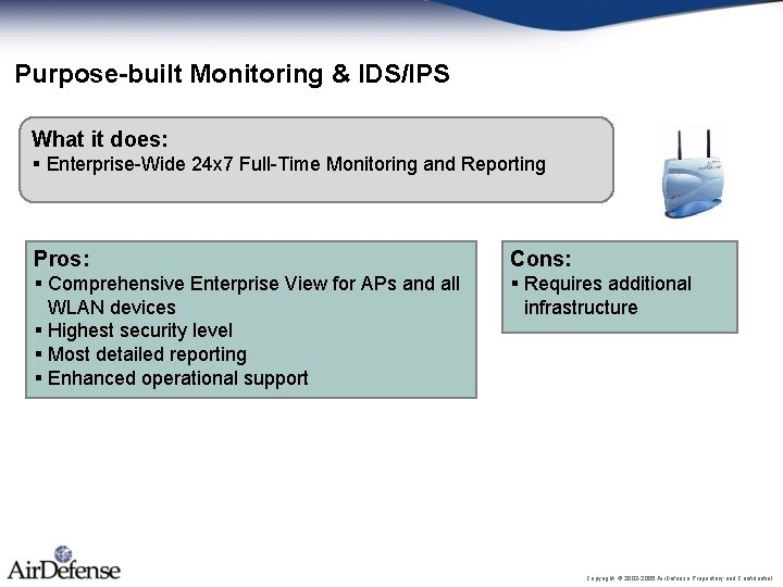 Purpose-built Monitoring & IDS/IPS What it does: § Enterprise-Wide 24 x 7 Full-Time Monitoring