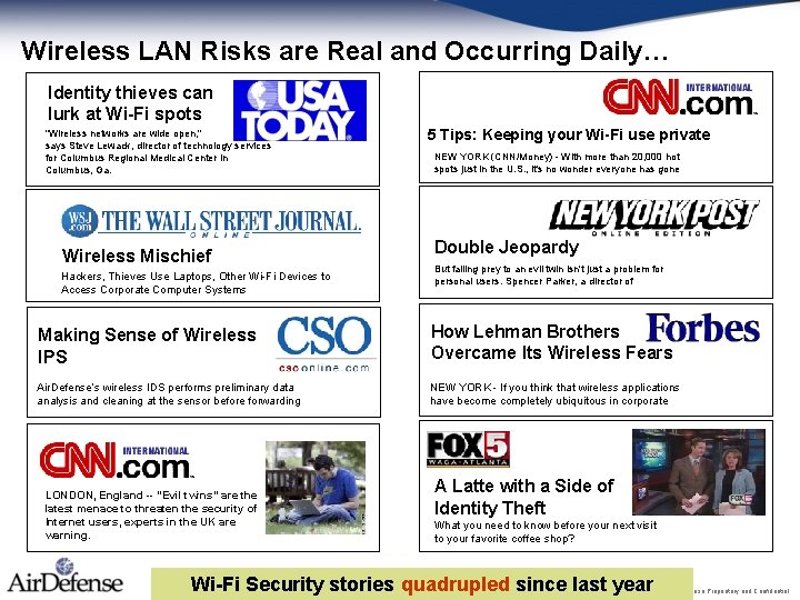 Wireless LAN Risks are Real and Occurring Daily… Identity thieves can lurk at Wi-Fi