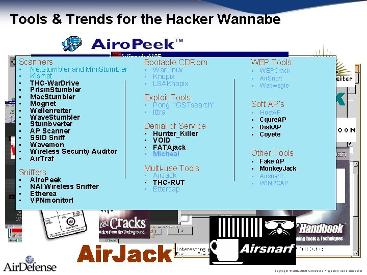 Tools & Trends for the Hacker Wannabe Scanners • • • • Net. Stumbler