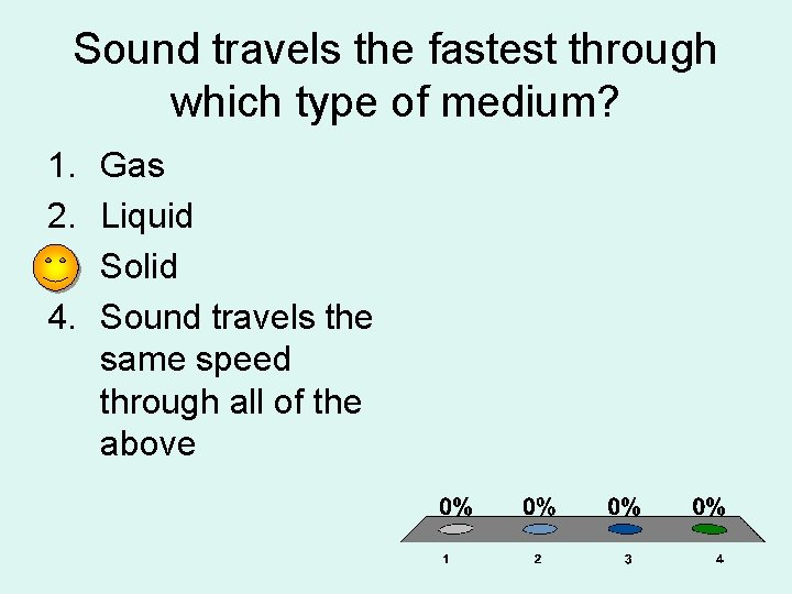 Sound travels the fastest through which type of medium? 1. 2. 3. 4. Gas