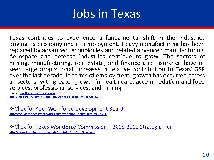 Jobs in Texas continues to experience a fundamental shift in the industries driving its