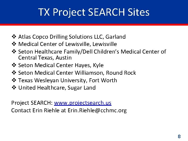 TX Project SEARCH Sites v Atlas Copco Drilling Solutions LLC, Garland v Medical Center