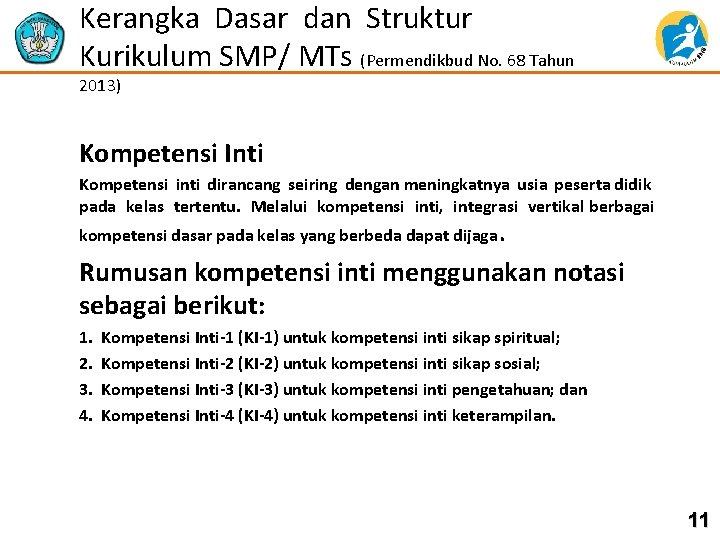 Kerangka Dasar dan Struktur Kurikulum SMP/ MTs (Permendikbud No. 68 Tahun 2013) Kompetensi Inti