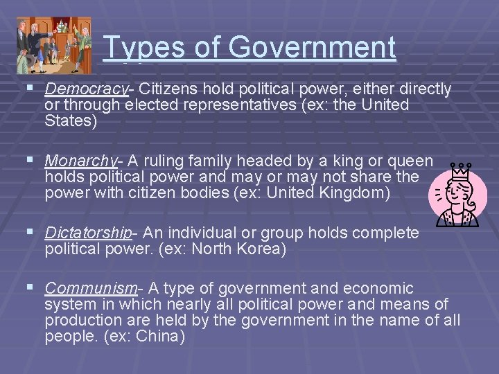 Types of Government § Democracy- Citizens hold political power, either directly or through elected