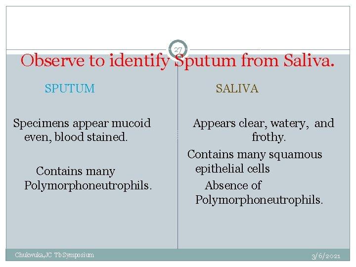 27 Observe to identify Sputum from Saliva. SPUTUM SALIVA Specimens appear mucoid even, blood