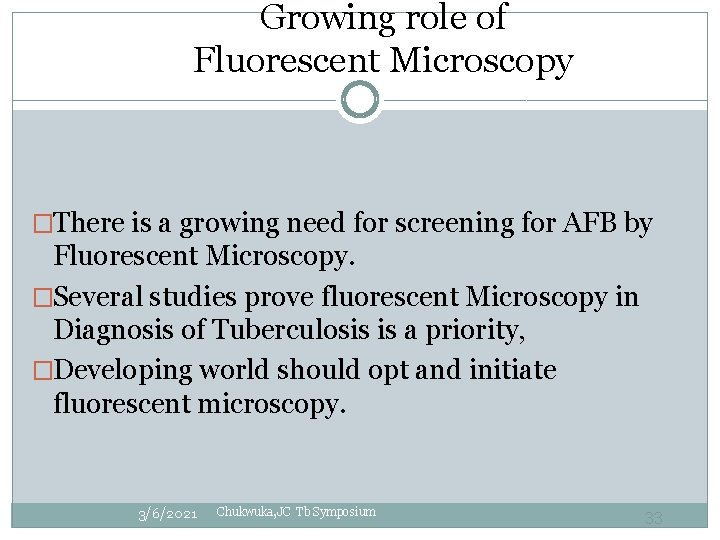 Growing role of Fluorescent Microscopy �There is a growing need for screening for AFB