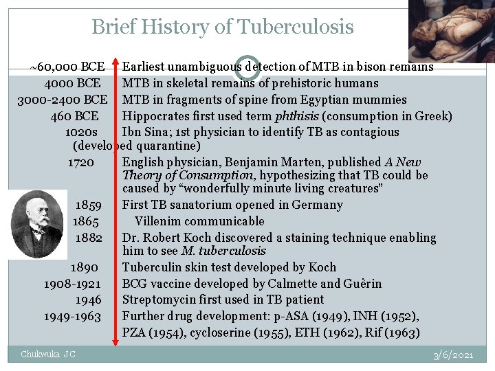Brief History of Tuberculosis ~60, 000 BCE Earliest unambiguous detection of MTB in bison