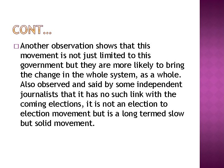 � Another observation shows that this movement is not just limited to this government