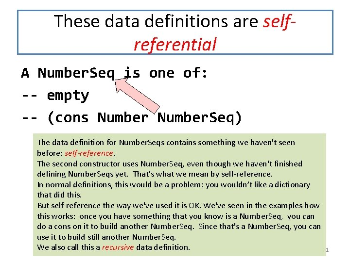 These data definitions are selfreferential A Number. Seq is one of: -- empty --