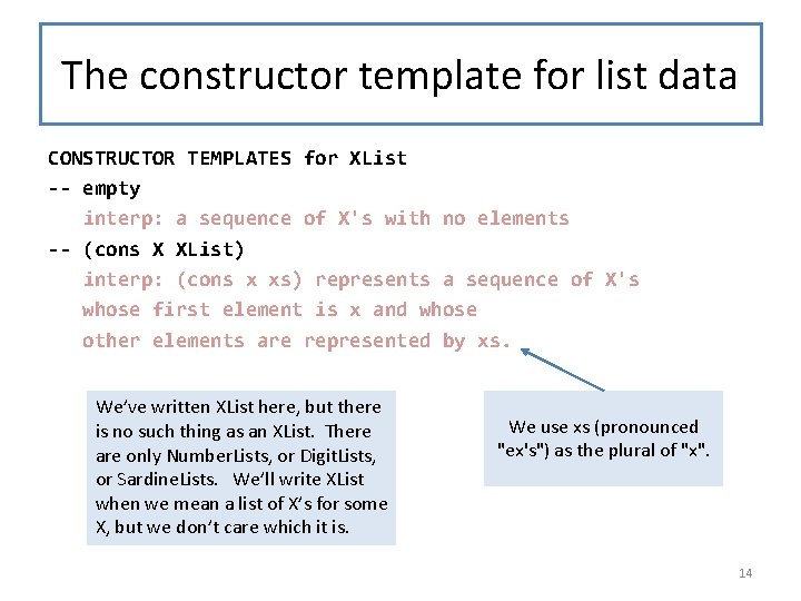 The constructor template for list data CONSTRUCTOR TEMPLATES for XList -- empty interp: a