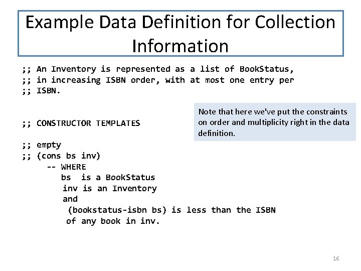 Example Data Definition for Collection Information ; ; An Inventory is represented as a