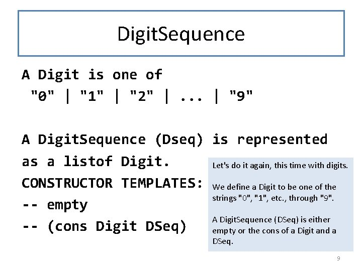 """Digit. Sequence A Digit is one of """"0""""   """"1""""   """"2""""  . ."""