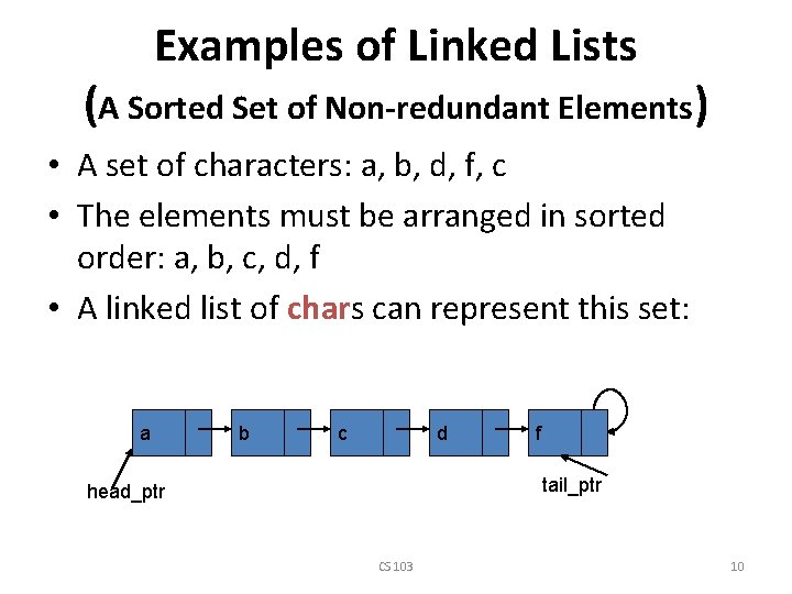 Examples of Linked Lists (A Sorted Set of Non-redundant Elements) • A set of