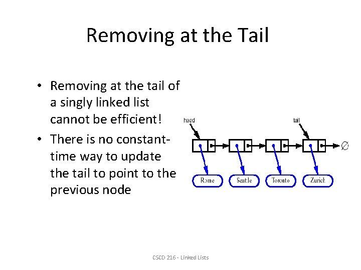 Removing at the Tail • Removing at the tail of a singly linked list