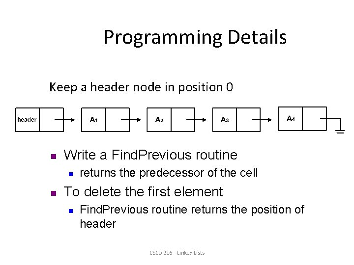 Programming Details Keep a header node in position 0 n Write a Find. Previous