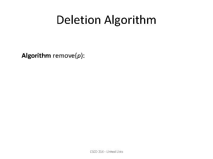 Deletion Algorithm remove(p): CSCD 216 - Linked Lists