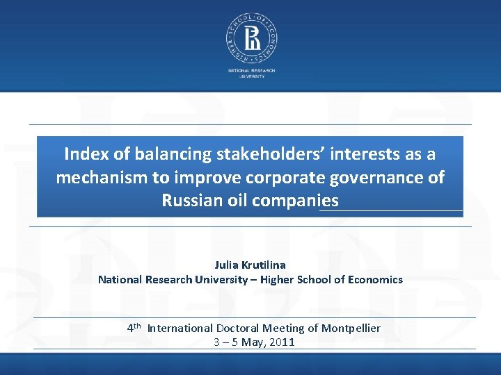 Index of balancing stakeholders' interests as a mechanism to improve corporate governance of Russian